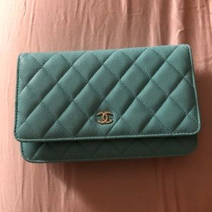 Chanel wallet on chain Tiffany blue new without t